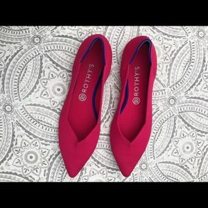 Hot Pink Rothys pointed flats
